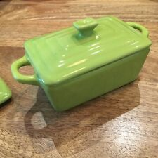 2 Mini Rectangular Baking Dishes With Lids Lime Green