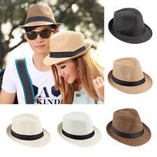 Men Women Fedora Wide Brim Straw Trilby Cap Panama Summer Beach Sun Hat *