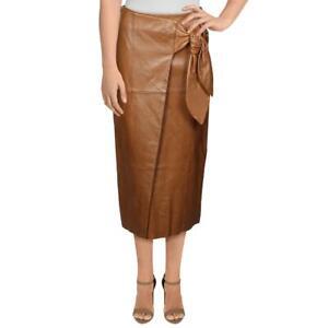Antonio Melani Womens Julia Bow Brown Leather Bow Midi Skirt S BHFO 3447