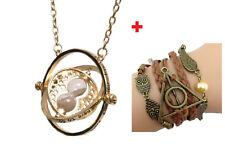 Parure Harry Potter Collier retourneur de temps + bracelet marron bronze hiboux