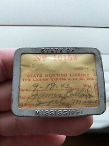 Vintage 1943 Mississippi Resident Hunting License Button Pin Tag Tupelo
