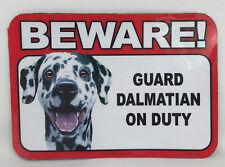 Beware! Guard Dalmatian Dog On Duty Magnet Laminated Car Pet NEW 6x4