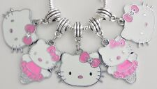 5 Hello Kitty Pink Bow Ballerina Fit European Jewelry to 28 * 45 & 5mm Hole HK03