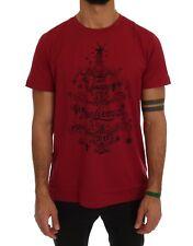NEW DOLCE & GABBANA T-shirt Crewneck 2017 Motive Print Bordeaux Cotton IT52 / XL