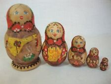 Vintage NESTING DOLL Matryoshka 5 Dolls Painted Natural Wood 3 inches tall