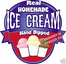 """Ice Cream Decal 14"""" Homemade Hand Dipped Cart Concession Food Truck Restaurant"""