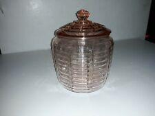 Vintage Pink Depression Glass Cookie Jar