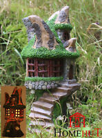 Solar Powered Decorative Secret Fairy Garden Ornament Tree Log House colour LED