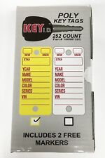 Poly Key Tags - Yellow (Boxes Of 252) 2 Free Sharpies And 252 Metal Key Rings