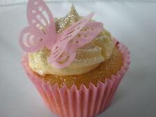24 3D PRECORTADA Rosa Pálido Oblea Comestible Papel De La Mariposa Magdalena Cake Toppers
