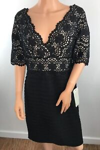 """NWT RRP: £160 Size 18 Adrianna Papell Black Crochet Lace Body Con Back Zip L39"""""""