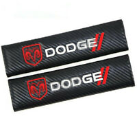 2PCS Car Carbon Fiber Seat Belt Cover Cushion Pads Embroidered Logo for DODGE