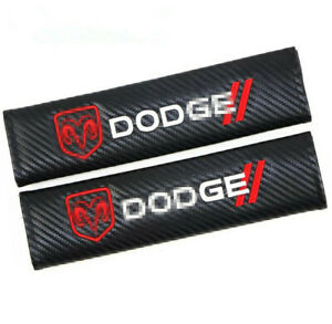2PCS Car Carbon Fiber Seat Belt Cover Cushion Pads Embroidered Logo for DODGE