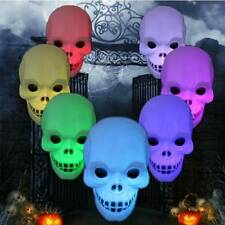 Changing Color Flash LED Skull Night Light Lamp Halloween Party Decoration