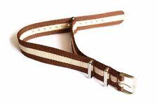 18 mm Beige Milk Brown Striped Military Nylon Sport Watch Strap Band