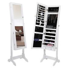 Armadio armadietto specchio portagioie gioielli a chiave legno bianco 158 cm