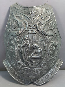 Vintage MEDIEVAL Castle KNIGHT ARMOR BREASTPLATE Figural MERMAID Old WALL DECOR