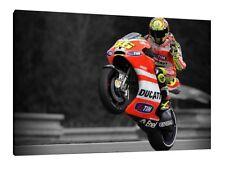Valentino Rossi 30x20 pulgadas Ducati MotoGP enmarcado cuadro lienzo-Impresión
