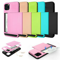 For iPhone 11 Pro Max XS XR 7 8 Plus Wallet Credit Card Pocket Holder Case Cover