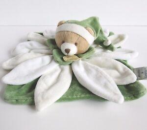 DOUDOU ET COMPAGNIE teddy bear collector green flower blankie comforter fleur