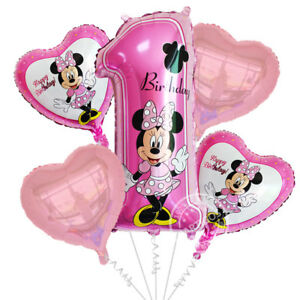 5 Pcs Minnie Mouse 1st Birthday Foil Balloons
