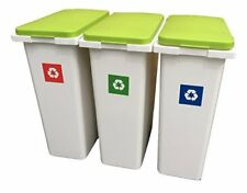 3 x 30 L Waste recyclage Laundry Sorting Plastic Tranches Boxes + à vantail Lids!