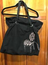Victoria's Secret Black Cloth Tote Bag With Pink Chair