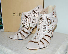 New $168 FIRTH Laser Cut Cage Bootie Sandal Blush Leather High Heels Sz 10B