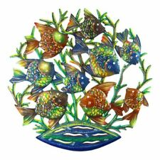 "Wall Decor Globally Made Painted Metal Fish School Family  24"" Round"
