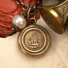 Galleon Ship Lifes Travel Bon Voyage Pendant Necklace Antique Wax Seal Jewelry