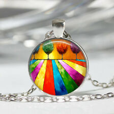 Colorful Tree Tibet silver Dome Glass Cabochon Necklace chain Pendant #81