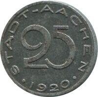 25 PFENNIG 1920 NOTGELD STADT AACHEN Germany #DE10437.5UW