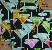 "T.T. ""Martini Glasses""  Set of 2 (8"") Handmade-Quilted-Insulated-Hot Pads"