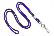 "Purple Round 1/8"" Standard Lanyard W/ Nickel Plated Steel Swivel Hook - 1 DOZEN"