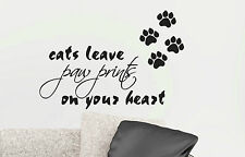 Cats Leave Paw Prints on Your Heart Removable Cat Lover Wall Sticker Pet Shop