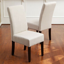 Set of 2 Elegant Design Natural Linen Upholstered Parsons Dining Chairs