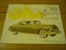 LINCOLN COSMOPOLITAN BROCHURE 1951  jm