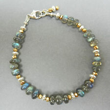 U&C Sundance Labradorite Fiery Stones, Gold Pyrite .925 Sterling Silver Bracelet