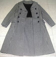 Vintage 1960s Swing Coat & Skirt Set Houndstooth White/Black Tweed Wool Size 5