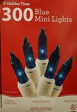 300ct Blue Mini Lights, White Wire - 59 ft - Wedding/Event/Christmas