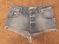 Topshop MOTO High Waisted Denim Shorts Hot Pants W28