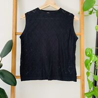 Gorman Womens Black Diamond Stitch Knit Style Tank Size 10 Silk Cotton Blend