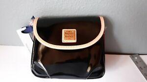 New Dooney & Bourke Black Patent Leather Flap Pleated Cross body Handbag Purse