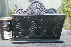 Vintage Wooden Rustic Carved Stained Black Letter Rack / Holder, Desk Tidy