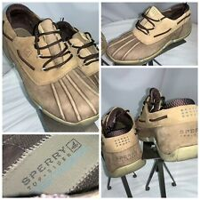 Sperry Top Side Duck Shoes Sz 10 Men Tan Rubber Leather Lace EUC YGI J0S-15