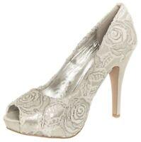Ladies Wedding Bridal White Silver Lace Shoes Peep Toe High Heel Size 4,5,6,7,8