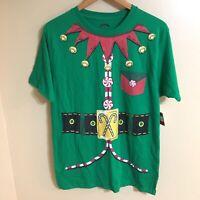 Elf t shirt costume adult men's medium funny novelty party tee