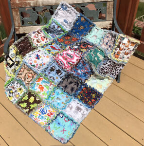 RAG QUILT I SPY throw quilt Boys 30 different prints handmade in USA  #53b