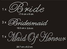 1 Bride 3 Bridesmaid 1 Maid of Honour Wedding Rhinestones Iron on Transfer Bling
