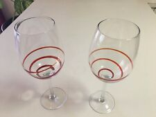 """RED SWIRL WINE GLASS BEAUTIFUL! 2-TOTAL - 16 OUNCES -  10-1/4"""" TALL"""